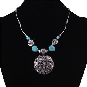 Silver Bohemian Pendant Necklace with Turquoise